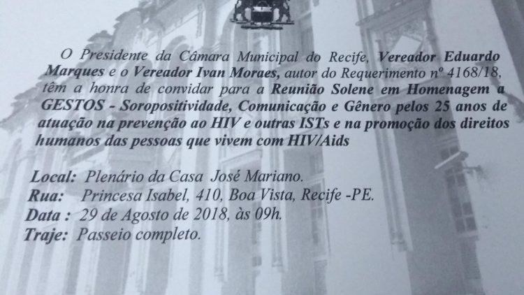 Gestos recebe homenagem na Câmara de Vereadores do Recife